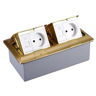 Лючок напольный на 6 модулей, металл, цвет золото