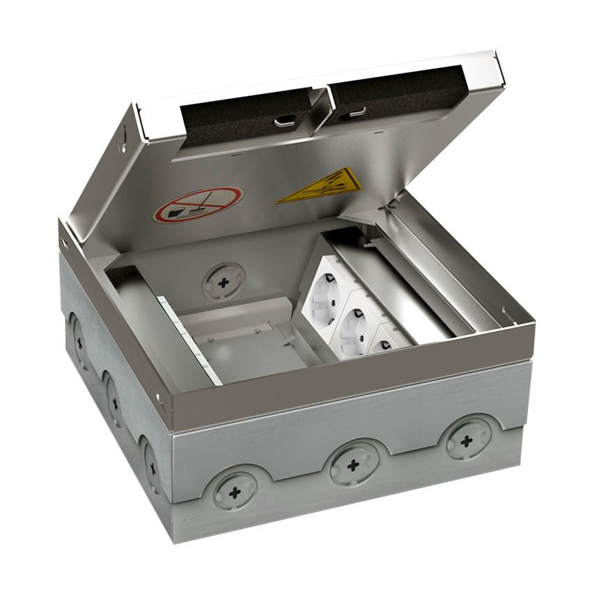 Shelbi Напольный лючок на 12 модулей, металл, сталь