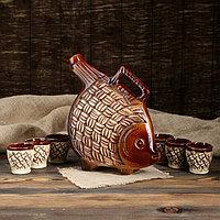 """Набор для вина """"Рыба"""", 7 предметов: штоф 2 л, рюмки 0.1 л"""