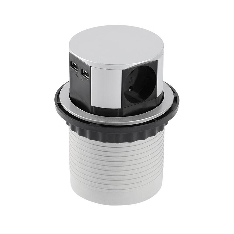 Удлинитель круглый врезной 3 розетки COMFORT (Schucko) 2xUSB 2,4A, провод 1,5м, алюминий GTV