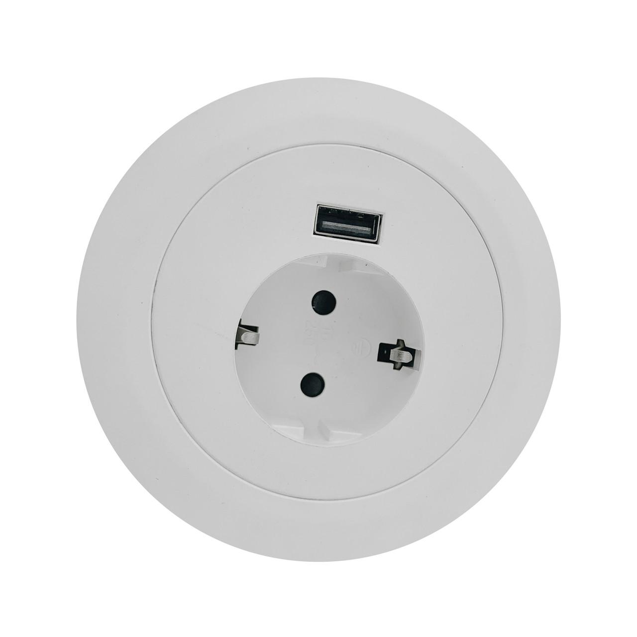 Встраиваемая розетка в мебель  белая G5201-1UC