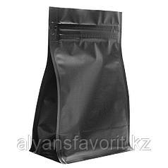 Пакет восьмишовный  металлизированный с плоским дном черный матовый с замком зип лок (zip-lock)
