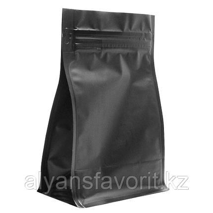 Пакет восьмишовный  металлизированный с плоским дном черный матовый с замком зип лок (zip-lock), фото 2