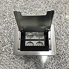 Настольный бокс на 4 модуля, серебро, встраиваемая розетка в стол, фото 2