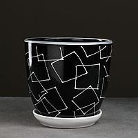 Горшок цветочный Иллюзия черная 2,5 л