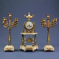 Кабинетный часовой гарнитур в стиле Людовика XVI. 1855 год. Часовая мастерская Vincenti