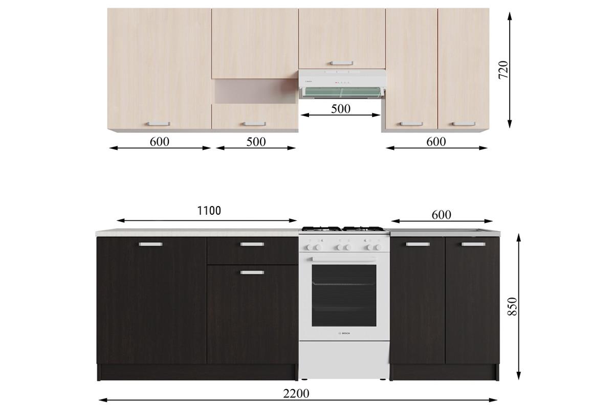 Комплект мебели для кухни Розалия 1700, Дуб Венге Дуб Млечный, СВ Мебель(Россия)