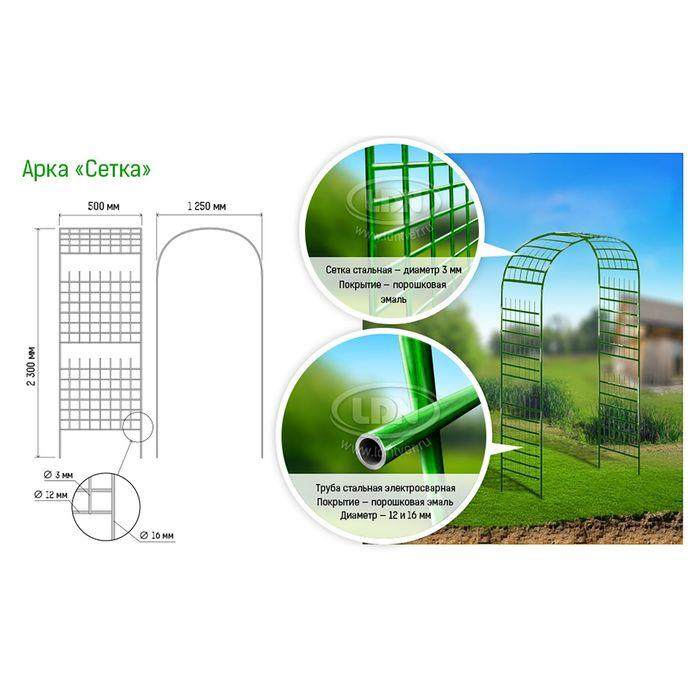 Арка садовая, разборная, 230 × 125 × 50 см, металл, зелёная, «Сетка» - фото 2