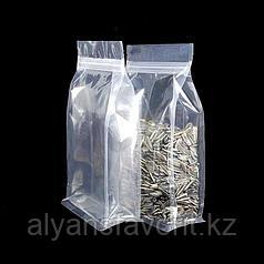 Пакет восьмишовный с плоским дном прозрачный глянцевый с фальцами и замком зип лок
