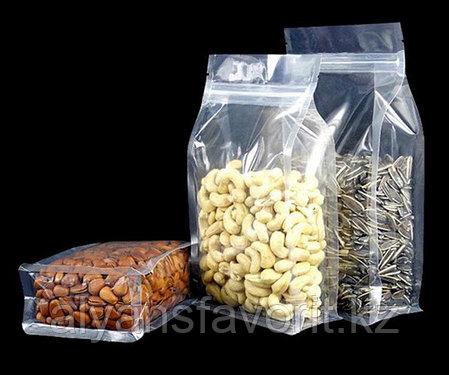Пакет восьмишовный с плоским дном прозрачный глянцевый с фальцами и замком зип лок, фото 2