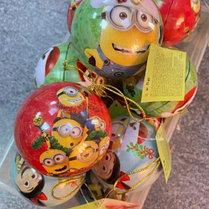 """Железный шар Игрушка на Ёлку внутри с шоколадными плитками """"Мультгерои"""""""