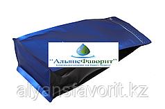 Пакет восьмишовный с плоским дном синий (процесс) матовый с черными фальцами и отрывным замком зип лок