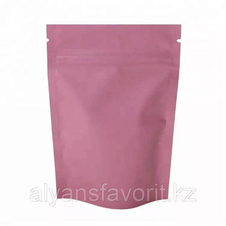 Пакет дой-пак металлизированный розовый матовый с замком zip-lock