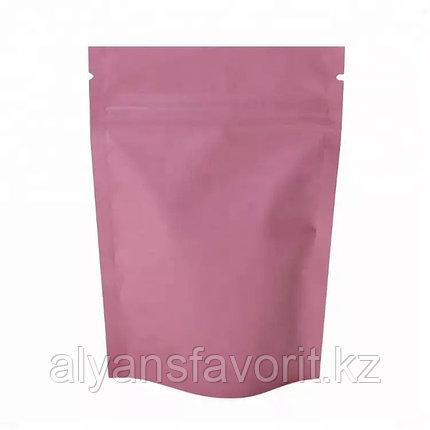 Пакет дой-пак металлизированный розовый матовый с замком zip-lock, фото 2