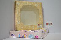 Коробка 28*28*5 см с окном Разноцветная