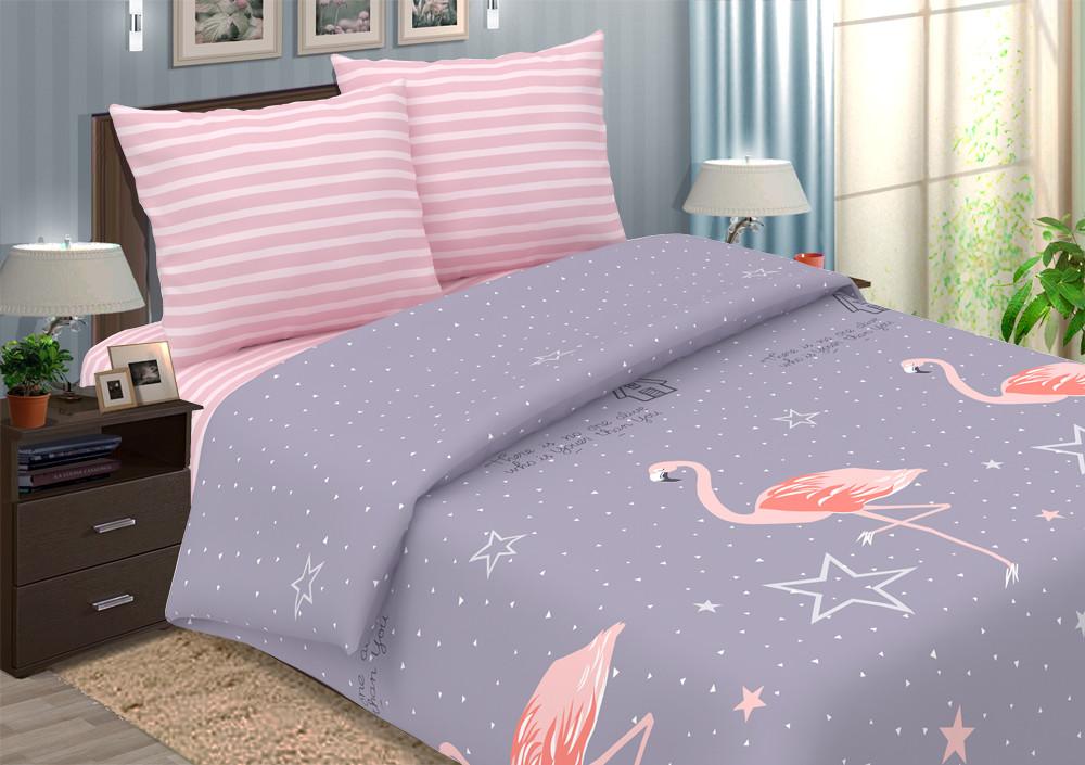 """Постельное бельё """"Фламинго"""", размер 2,0 сп. с евро простыней"""