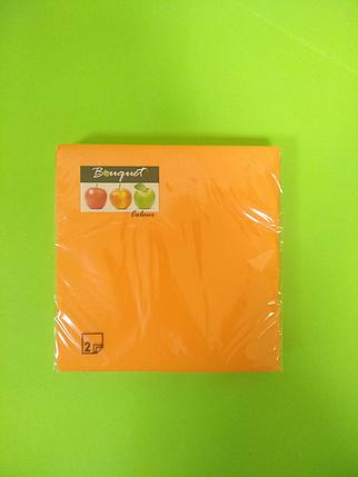 Салфетки бумажные однотонные оранжевые, фото 2