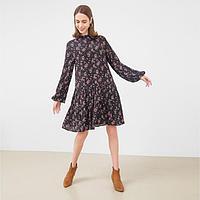 Платье женское, цвет чёрный/цветы, рост 158 см, размер 40 (XXS)