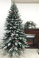 Искусственная елка Снежная  с шишками и ягодами 210 см, ПВХ