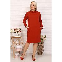 Платье женское, цвет кирпичный, размер 52