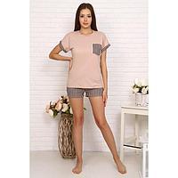 Костюм женский (футболка, шорты), цвет бежевый, размер 52