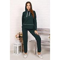 Костюм женский (толстовка, брюки), цвет зелёный, размер 52