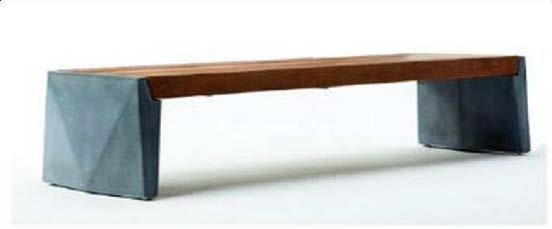 Скамейка из мраморного камня с деревянным настилом, модель: Origami 2