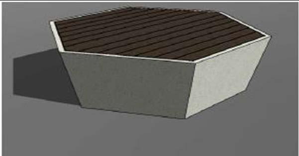 Скамейка из мраморного камня с деревянным настилом, модель: Sota