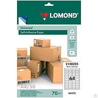 Lomond Самоклеящиеся этикетки, наклейки А4 50л. 64 фрагмента (105*148,5)