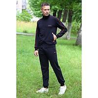 Костюм мужской (толстовка, брюки) цвет чёрный, размер 48