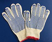 Перчатки хозяйственные хлопчатобумажные 1 пара с ПВХ точками для дачи или дома