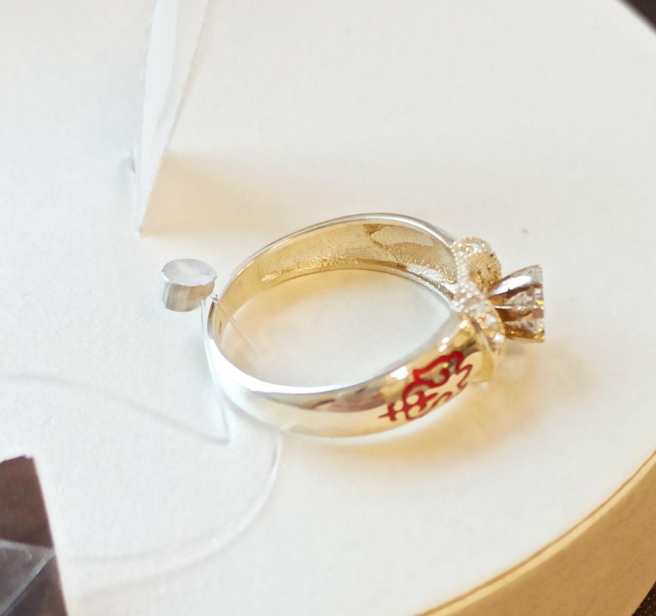 Кольцо с фианитами и эмалью, размеры с 16 - 22 - фото 2