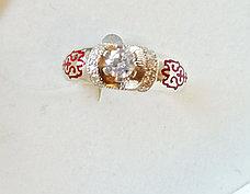 Кольцо с фианитами и эмалью, размеры с 16 - 22