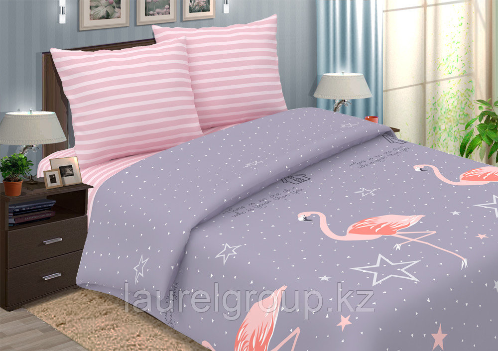 """Постельное бельё """"Фламинго"""", размер 2,0 сп. Дуэт семейный"""