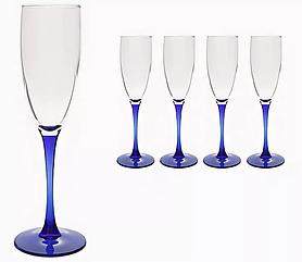 Бокалы для шампанского Luminarc с синей ножкой