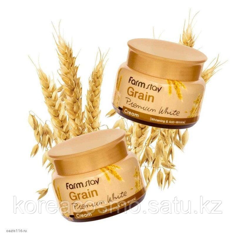 FarmStay Осветляющий крем с маслом ростков пшеницы Grain Premium White Cream
