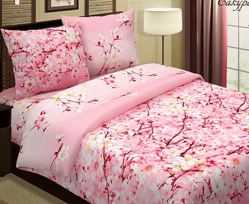 """Постельное бельё """"Сакура розовая"""", размер 2,0 сп. с Евро простыней"""