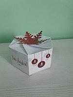 Коробка 6,5*13*13см снежинка красная