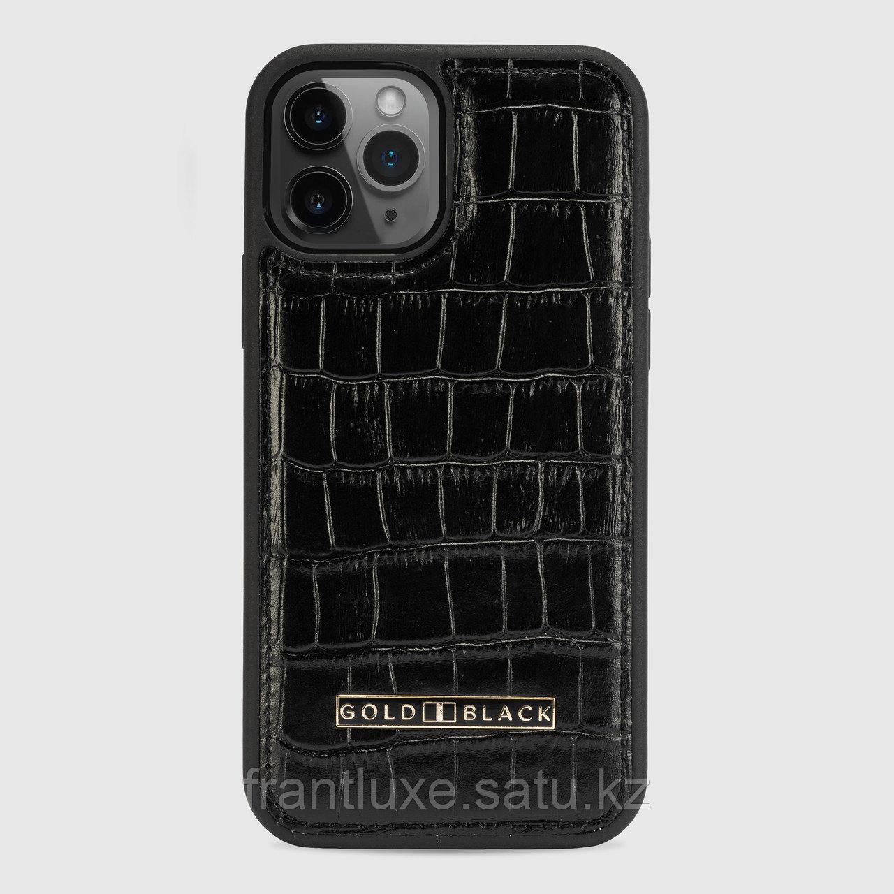 Чехол для телефона iPhone 12/12 Pro Croco Black - фото 1