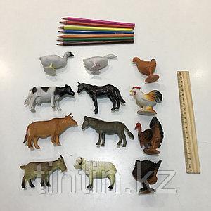 Набор из 12 резиновых домашних животных