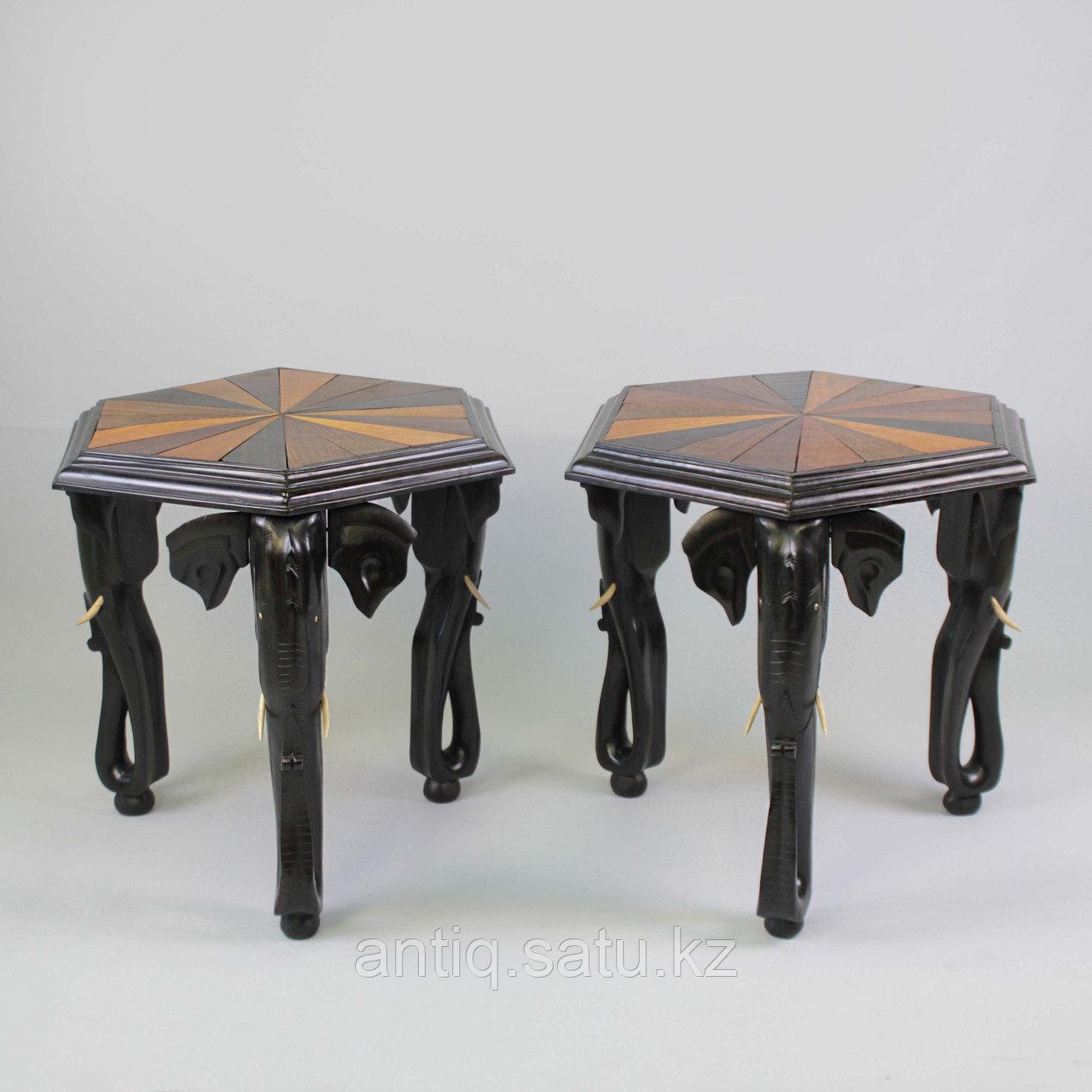 Журнальные столики. Бельгийское Конго. Изготовлены из массива ценных пород дерева различных видов. - фото 8