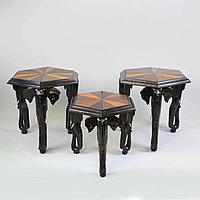 Журнальные столики. Бельгийское Конго. Изготовлены из массива ценных пород дерева различных видов.
