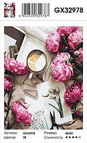 """Картина по номерам  """"Пионы и кофе"""" 40х50 см, фото 2"""