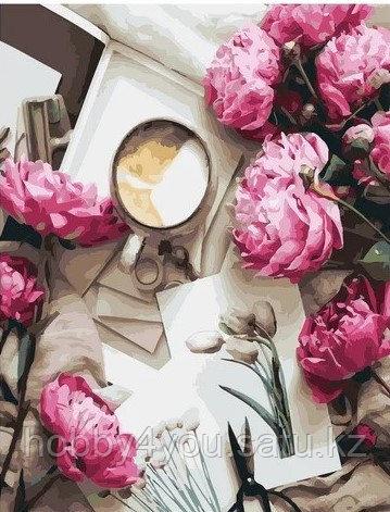 """Картина по номерам  """"Пионы и кофе"""" 40х50 см"""