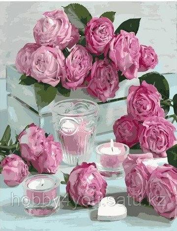 """Картина по номерам  """"Розовые свечи"""" 40х50 см"""