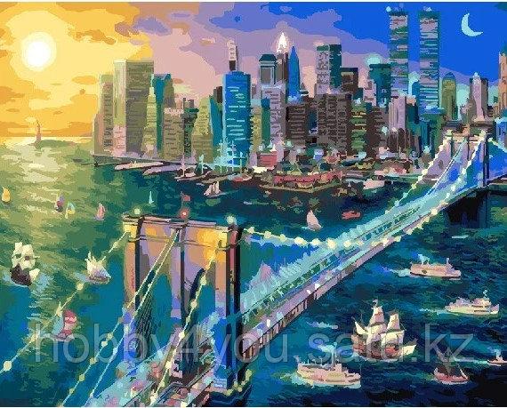 "Картина по номерам  ""Бруклинский мост на закате"" 40х50 см"