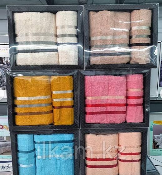 """Подарочный набор полотенец. """"Полосочка"""".  Банное и лицевое."""