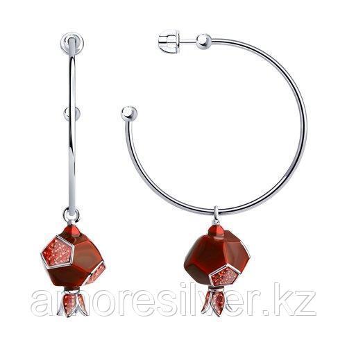 Серьги из серебра с эмалью и фианитами   SOKOLOV 94023851