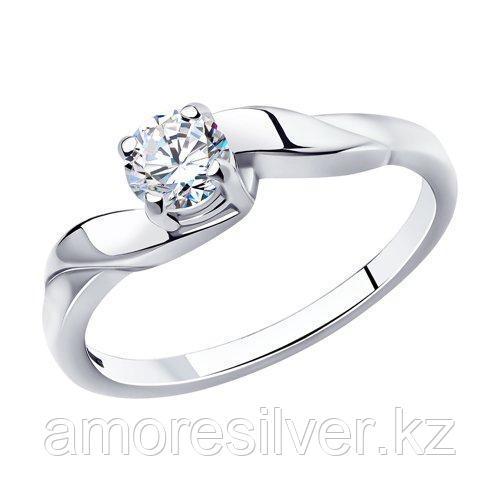 Кольцо для помолвки из родированного серебра    SOKOLOV 94010011 размеры - 16 16,5 17 17,5 18 18,5 19 19,5