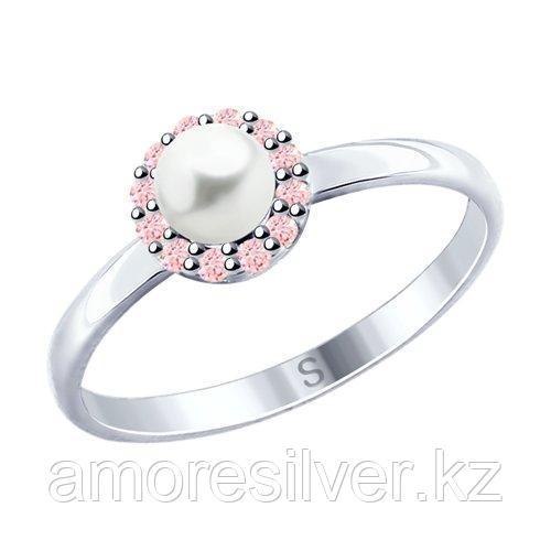 Кольцо из серебра с жемчугом и фианитами    SOKOLOV 94012685 размеры - 18 18,5 19 19,5